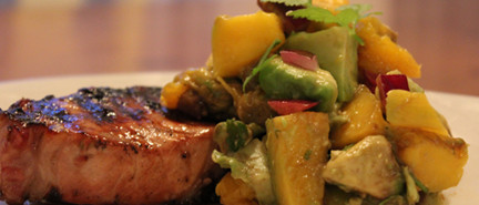 pork, BBQ, marinade, avocado, mango, salsa, pork chops