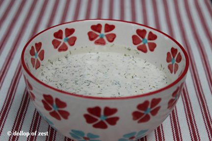 dill sauce in bowl for grilled salmon with dill marinade & sauce