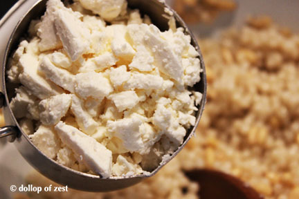 feta into salad for Israeli couscous salad with feta, roasted red peppers and mint