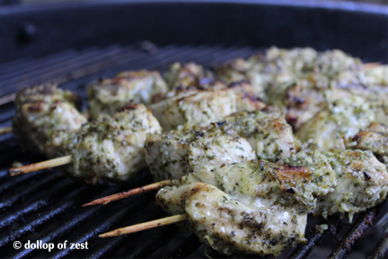 grilling lime and mint marinated chicken kebabs