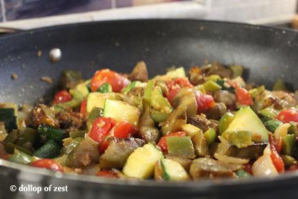 mixing in pan before basil Ratatouille