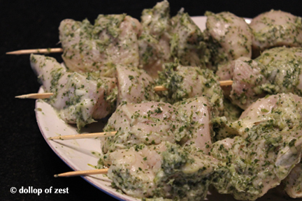 lime and mint marinated chicken kebabs