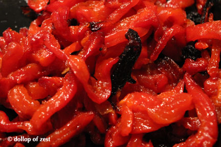 roasted red peppers for Israeli couscous salad with feta, roasted red peppers and mint