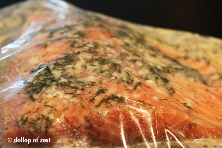 salmon in bag marinating for grilled salmon with dill marinade & sauce