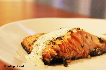 grilled salmon with dill marinade & sauce