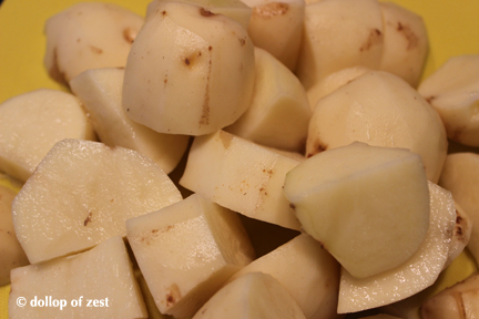 chopped potates  for grilled potato salad