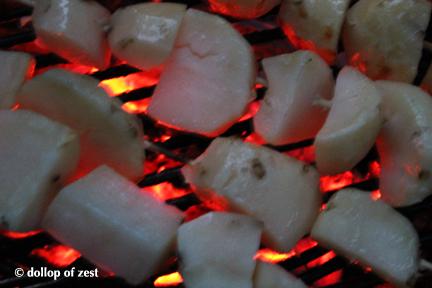 potaotes on grill  for grilled potato salad