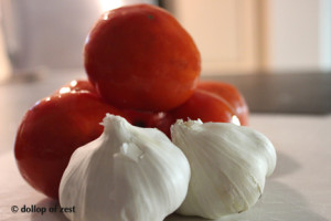 garlic and tomatoes for turkey bolognese sauce