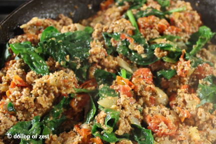 sauteeing with spinach for turkey bolognese sauce