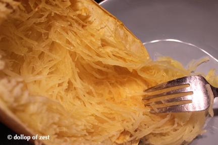 Spaghetti squash shredding
