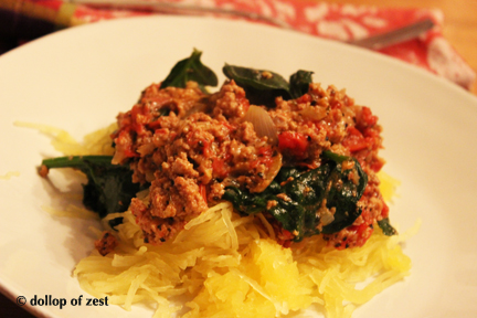 turkey Bolognese on plate side
