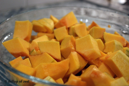 chopped squash for rosemary roasted butternut squash