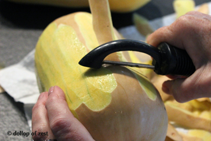 peeling butternut squash for butternut squash soup