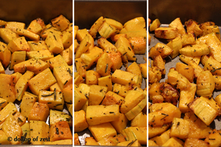 squash roasting stages for rosemary roasted butternut squash