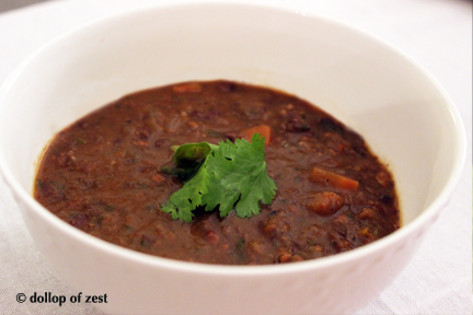 black bean and chorizo soup with cilantro