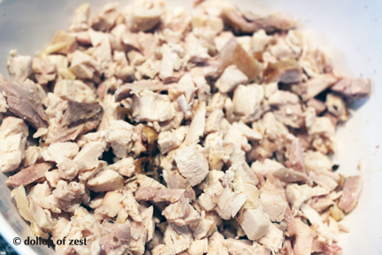 "chopped chicken for ""leftover"" chicken salad"