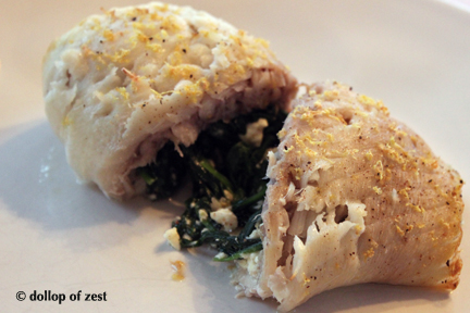 baked fish stuffed with spinach & feta