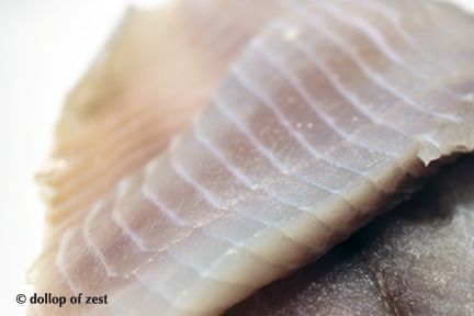 raw fish for baked fish stuffed with spinach & feta