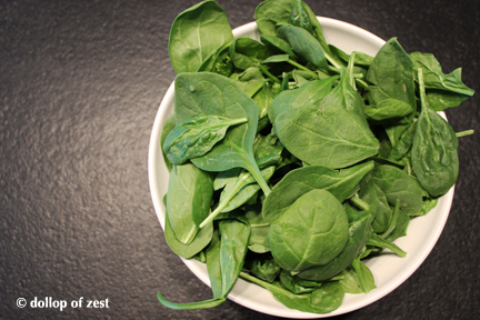 raw spinach for baked fish stuffed with spinach & feta